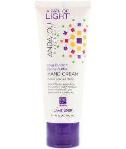ANDALOU NATURALS, A PATH OF LIGHT, SHEA BUTTER + COCOA BUTTER HAND CREAM, LAVENDER, 3.4 FL OZ / 100ml