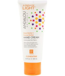 ANDALOU NATURALS, A PATH OF LIGHT, SHEA BUTTER + COCOA BUTTER HAND CREAM, CLEMENTINE, 3.4 FL OZ / 100ml