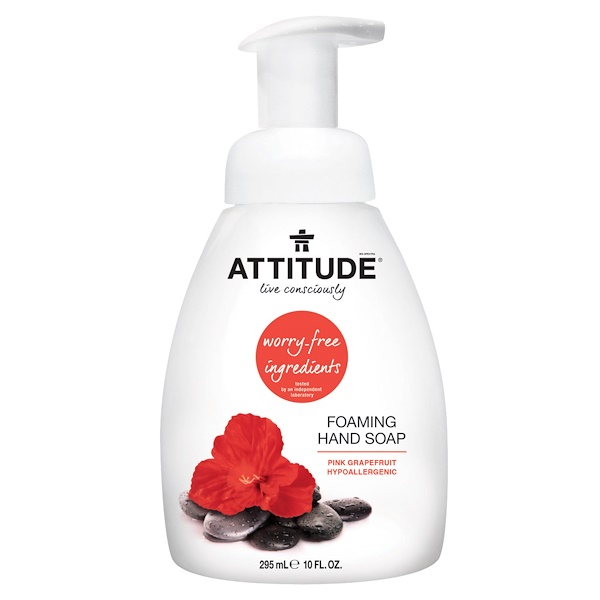 ATTITUDE, FOAMING HAND SOAP, PINK GRAPEFRUIT, 10 FL OZ / 295ml