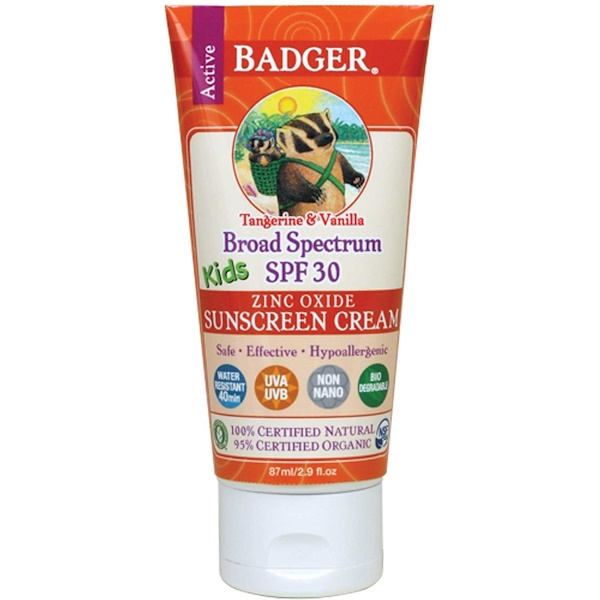 BADGER COMPANY, ACTIVE KIDS, ZINC OXIDE SUNSCREEN CREAM, SPF 30, TANGERINE & VANILLA, 2.9 FL OZ / 87ml