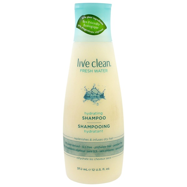 LIVE CLEAN, HYDRATING SHAMPOO, FRESH WATER, 12 FL OZ / 350ml