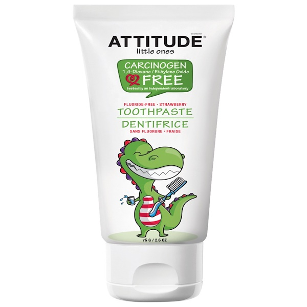 ATTITUDE, LITTLE ONES, TOOTHPASTE, FLUORIDE FREE, STRAWBERRY, 2.6 OZ / 75g