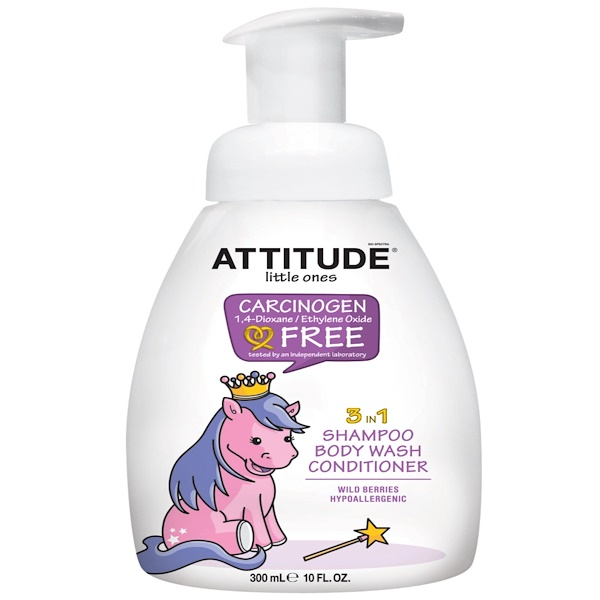 ATTITUDE, LITTLE ONES, 3 IN 1 SHAMPOO, BODY WASH, CONDITIONER, WILD BERRIES, 10 FL OZ / 300ml