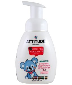 ATTITUDE, LITTLE ONES, 3 IN 1 SHAMPOO, BODY WASH, CONDITIONER, FRAGRANCE FREE, 10 FL OZ / 300ml