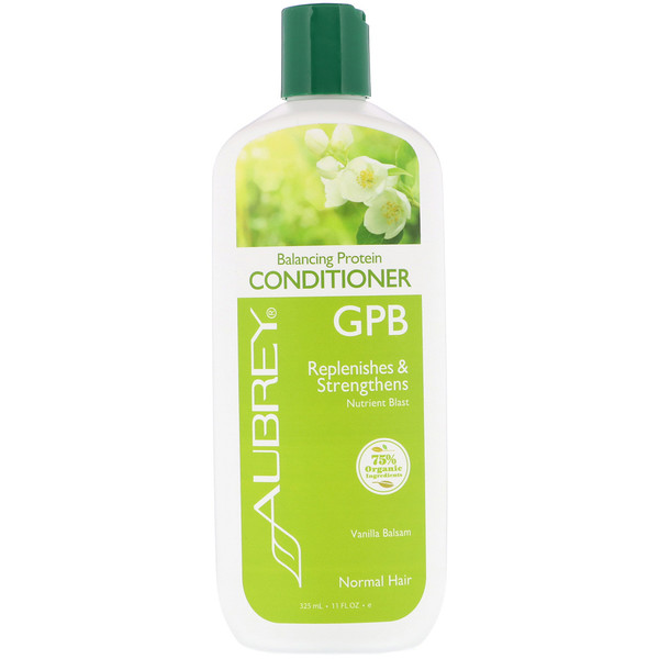 AUBREY ORGANICS, GPB, BALANCING PROTEIN CONDITIONER, NORMAL HAIR, VANILLA BALSAM, 11 FL OZ / 325ml