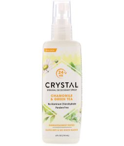 CRYSTAL BODY DEODORANT, MINERAL DEODORANT SPRAY, CHAMOMILE & GREEN TEA, 4 FL OZ / 118ml