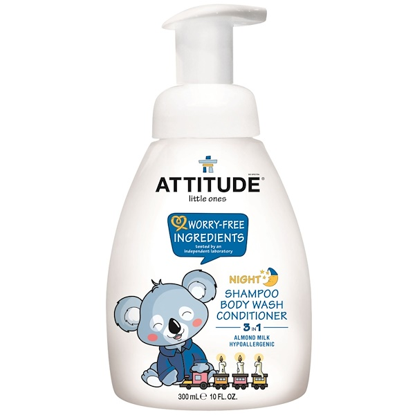 ATTITUDE, LITTLE ONES, 3 IN 1 SHAMPOO, BODY WASH, CONDITIONER, NIGHT, ALMOND MILK, 10 FL OZ / 300ml