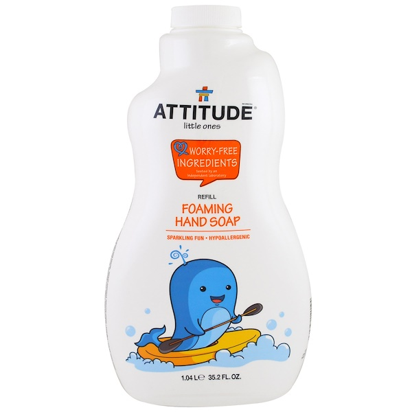 ATTITUDE, LITTLE ONES, FOAMING HAND SOAP, REFILL, 35.2 FL OZ / 1.04 L)