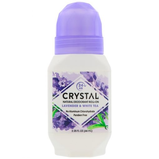 CRYSTAL BODY DEODORANT, NATURAL DEODORANT ROLL-ON, LAVENDER & WHITE TEA, 2.25 FL OZ / 66ml