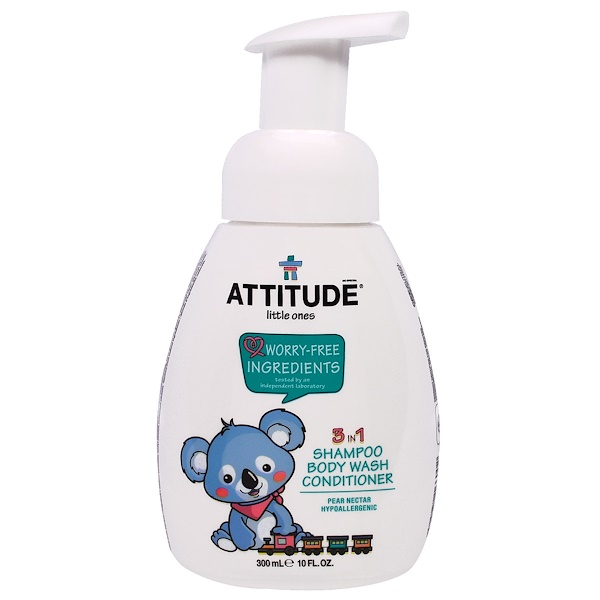 ATTITUDE, LITTLE ONES, 3 IN 1 SHAMPOO BODY WASH CONDITIONER, PEAR NECTAR, 10 FL OZ / 300ml