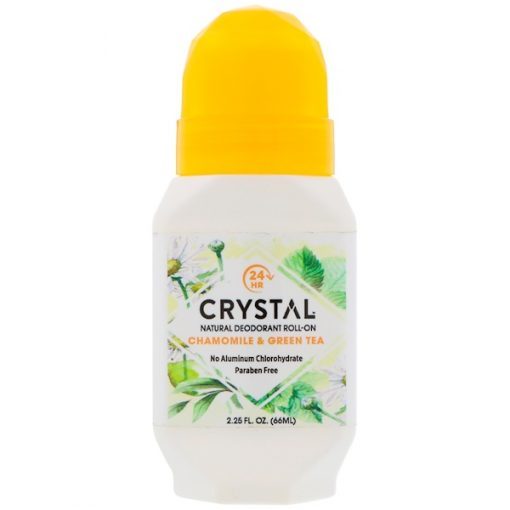 CRYSTAL BODY DEODORANT, NATURAL DEODORANT ROLL ON, CHAMOMILE & GREEN TEA, 2.25 FL OZ / 66ml