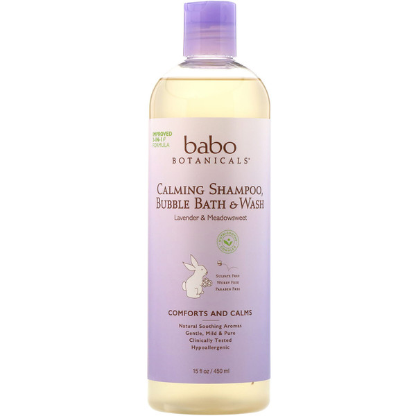 BABO BOTANICALS, 3 IN 1: CALMING SHAMPOO, BUBBLE BATH & WASH, LAVENDER & MEADOWSWEET, 15 FL OZ / 450ml
