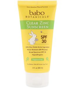 BABO BOTANICALS, CLEAR ZINC SUNSCREEN, SPF 30, FRAGRANCE FREE, 3 FL OZ / 89ml