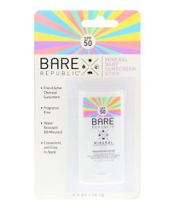 BARE REPUBLIC, MINERAL BABY SUNSCREEN STICK, SPF 50, 0.5 OZ / 14.2g