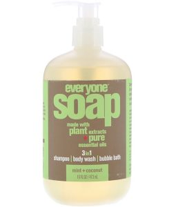 EO PRODUCTS, EVERYONE SOAP, 3 IN 1, MINT + COCONUT, 16 FL OZ / 473ml