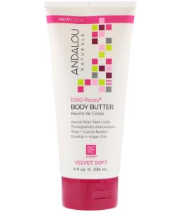 ANDALOU NATURALS, BODY BUTTER, VELVET SOFT, 1000 ROSES, 8 FL OZ / 236ml
