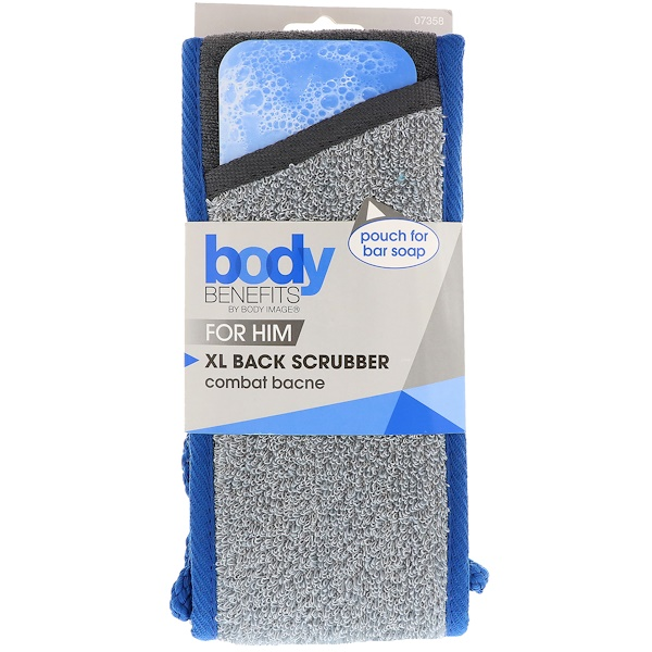 BODY BENEFITS, BY BODY IMAGE, FOR HIM, XL BACK SCRUBBER, 1 SCRUBBER
