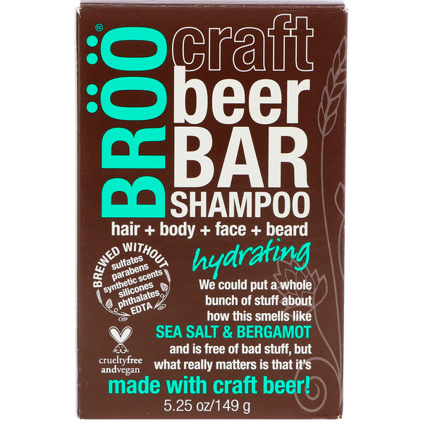 BR??, CRAFT BEER BAR SHAMPOO, HYDRATING, SEA SALT & BERGAMOT, 5.25 OZ / 149g