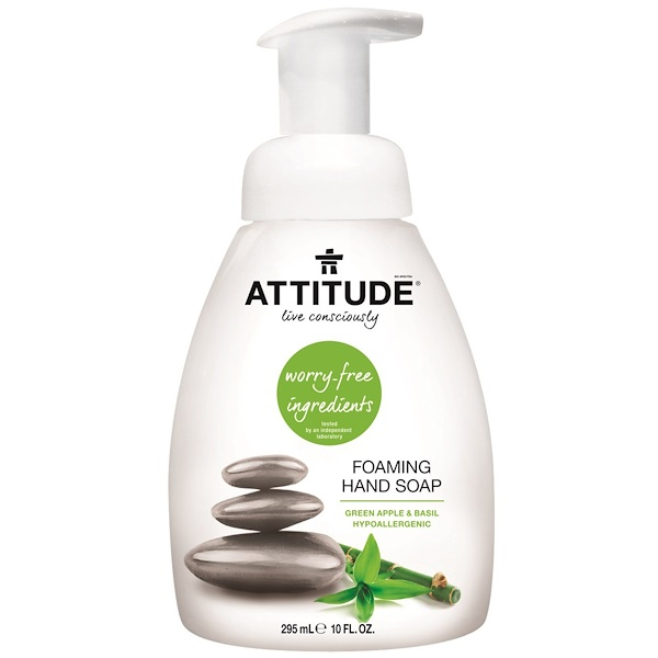 ATTITUDE, FOAMING HAND SOAP, GREEN APPLE & BASIL, 10 FL OZ / 295ml