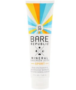 BARE REPUBLIC, MINERAL SUNSCREEN LOTION, SPORT, SPF 30, 5 FL OZ / 148ml