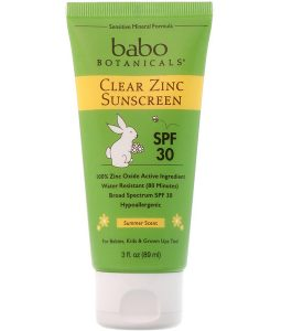 BABO BOTANICALS, CLEAR ZINC SUNSCREEN, 30 SPF, SUMMER SCENT, 3 FL OZ / 89ml