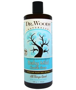 DR. WOODS, BABY MILD, CASTILE SOAP WITH FAIR TRADE SHEA BUTTER, UNSCENTED, 32 FL OZ / 946ml
