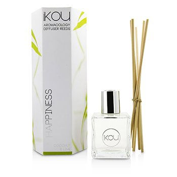 IKOU AROMACOLOGY DIFFUSER REEDS - HAPPINESS (COCONUT & LIME - 9 MONTHS SUPPLY)  -