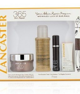 LANCASTER 365 SKIN REPAIR SET: YOUTH RENEWAL DAY CREAM 50ML+ SERUM YOUTH RENEWAL 10ML+ EYE SERUM 3ML+ EXPRESS CLEANSER 100ML  4PCS