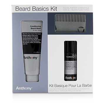 ANTHONY BEARD BASICS KIT: 1X CONDITIONING BEARD WASH 177ML, 1X PRE-SHAVE + CONDITIONING BEARD OIL 59ML, 1X BEARD COMB  3PCS