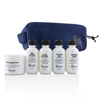 BAXTER OF CALIFORNIA TRAVEL STARTER KIT: FACE WASH + SHAVE FORMULA + MOISTURIZER + SHAVE BALM + SHAMPOO + BAG  5PCS + 1 BAG