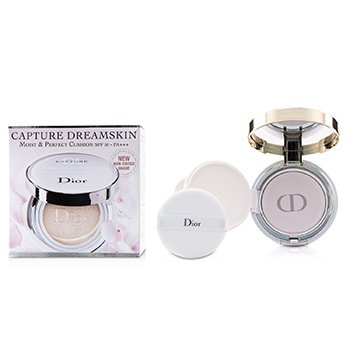 CHRISTIAN DIOR CAPTURE DREAMSKIN MOIST & PERFECT CUSHION SPF 50 WITH EXTRA REFILL - # 000  2X15G/0.5OZ