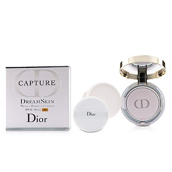 CHRISTIAN DIOR CAPTURE DREAMSKIN MOIST & PERFECT CUSHION SPF 50 WITH EXTRA REFILL - # 025 (SOFT BEIGE)  2X15G/0.5OZ