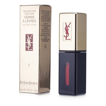 YVES SAINT LAURENT ROUGE PUR COUTURE VERNIS A LEVRES GLOSSY STAIN - # 8 ORANGE DE CHINE  6ML/0.2OZ