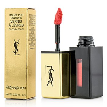 YVES SAINT LAURENT ROUGE PUR COUTURE VERNIS A LEVRES GLOSSY STAIN - # 42 TANGERINE BOHO  6ML/0.2OZ