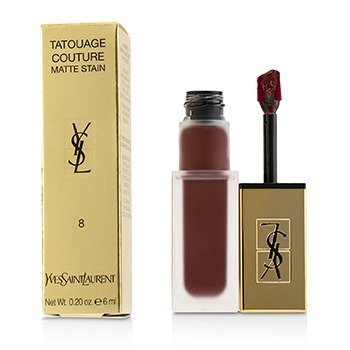 YVES SAINT LAURENT TATOUAGE COUTURE MATTE STAIN - # 8 BLACK RED CODE  6ML/0.2OZ