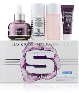 SISLEY BLACK ROSE PRECIOUS FACE OIL DISCOVERY PROGRAM: FACE OIL 25ML + LYSLAIT 30ML + FLORAL TONING LOTION 30ML + CREAM MASK 10ML  4PCS