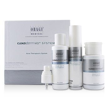 OBAGI CLENZIDERM M.D. ACNE THERAPEUTIC SYSTEM: CLEANSER 118ML + PORE THERAPY 148ML + THERAPEUTIC LOTION 47ML  3PCS