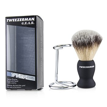 TWEEZERMAN G.E.A.R. DELUXE SHAVING BRUSH WITH STAND  2PCS