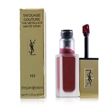 YVES SAINT LAURENT TATOUAGE COUTURE THE METALLICS - # 102 IRON PINK SPIRIT  6ML/0.2OZ