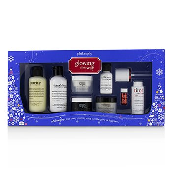 PHILOSOPHY GLOWING ALL THE WAY KIT: CLEANSER X 2 + MOISTURIZER X 2 + PEEL X 2 +  SERUM & ACTIVATOR  8PCS