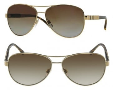 BURBERRY ITALY POLARIZED SUNGLASSES BE3080 1145T5 GOLD BROWN GRADIENT 59MM 