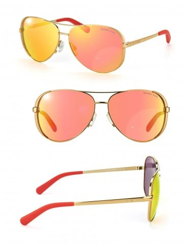 MICHAEL KORS MK CHELSEA AVIATOR SUNGLASSES MK5004 10146Q GOLD ORANGE MIRROR 59MM 