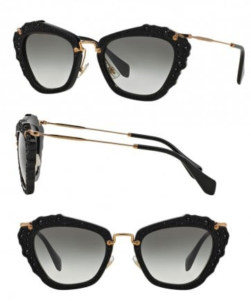 MIU MIU ITALY MU 04Q 1AB0A7 BLACK GOLD GREY GRADIENT CAT EYE SUNGLASSES 55MM 