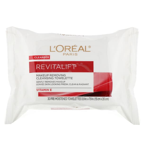 L'Oreal, Revitalift Makeup Removing Cleansing Towelettes, 30 Pre-Moistened Towelettes