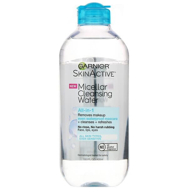 Garnier, SkinActive, Micellar Cleansing Water, All-in-1 Makeup Remover Even Waterproof Mascara, All Skin Types, 13.5 fl oz (400 ml)