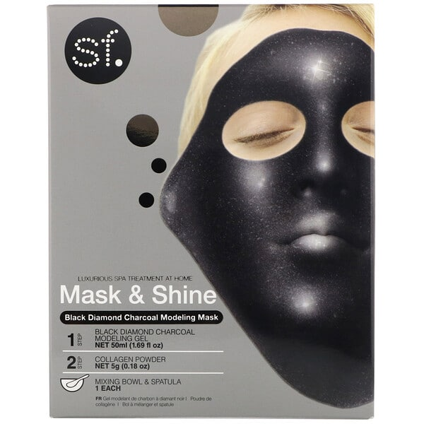 SFGlow, Mask & Shine, Black Diamond Charcoal Modeling Mask, 4 Piece Kit