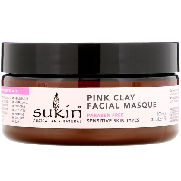Sukin, Pink Clay Facial Masque, Sensitive, 3.38 fl oz (100 ml)