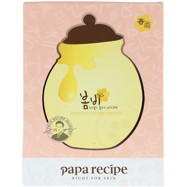Papa Recipe, Bombee Rose Gold Honey Mask Pack, 5 Sheets, 25 ml Each