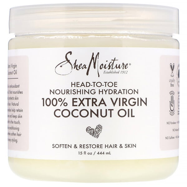 SheaMoisture, Head-To-Toe Nourishing Hydration, 100% Extra Virgin Coconut Oil, 15 fl oz (444 ml)