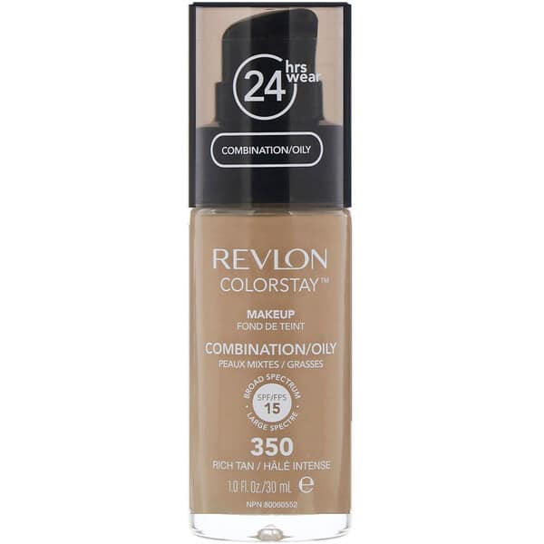 Revlon, Colorstay, Makeup, Combination/Oily, 350 Rich Tan, 1 fl oz (30 ml)